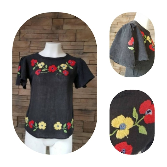 Flower Embroidered Gauze Cotton Shirt