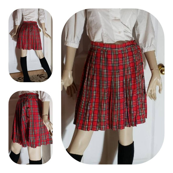 Pleated Red Tartan what Wrap Skirt
