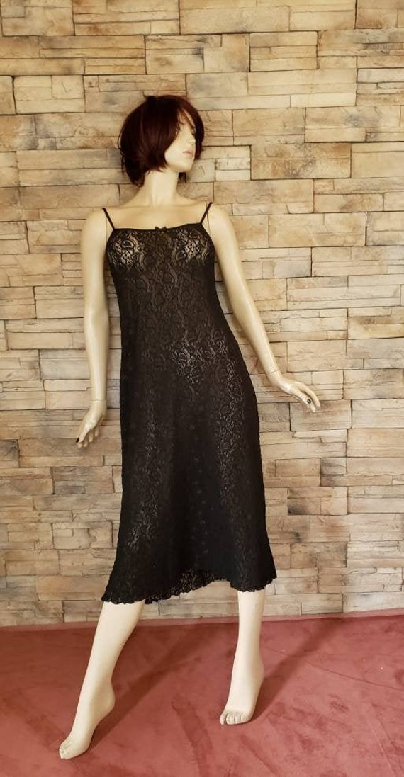Sexy Black Stretch Lace Slip On Nightgown