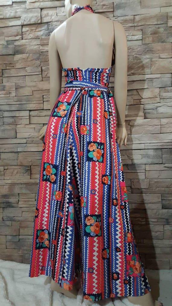 Boho Maxi Halter top dress/70s - image 4