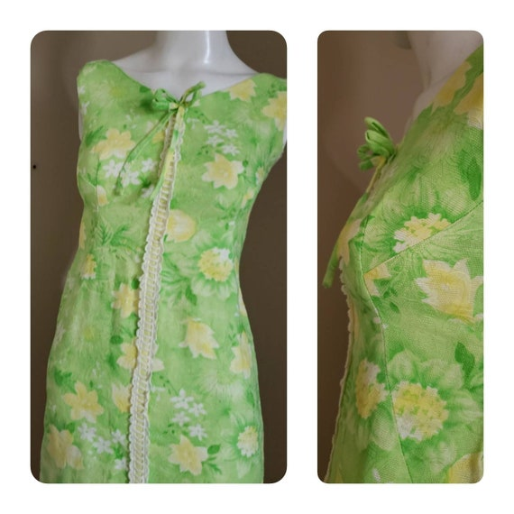 70s lime green mini dress