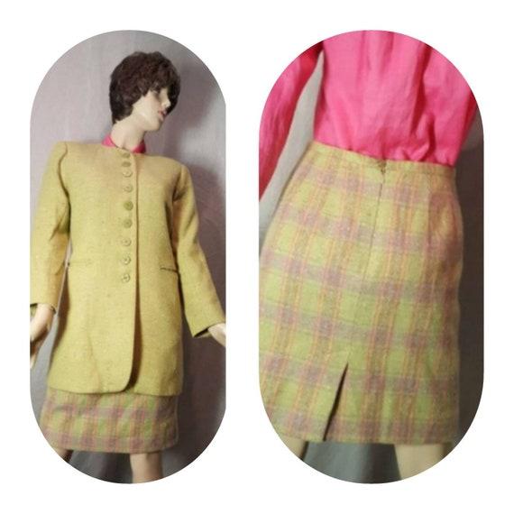 Apple Green Wool Skirt Suit