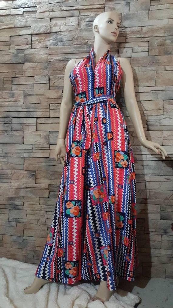 Boho Maxi Halter top dress/70s - image 2