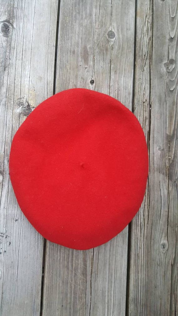 red French beret / 100% wool - image 9