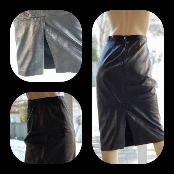 Black Calf Length Leather Skirt