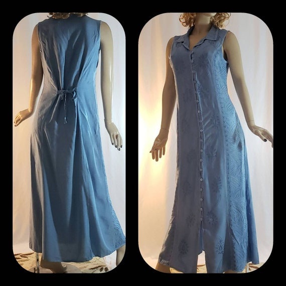 Deadstock Vintage Button Up Maxi Rayon Dress Size