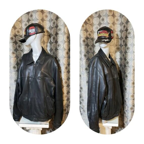 Bomber Leather Jacket Men L