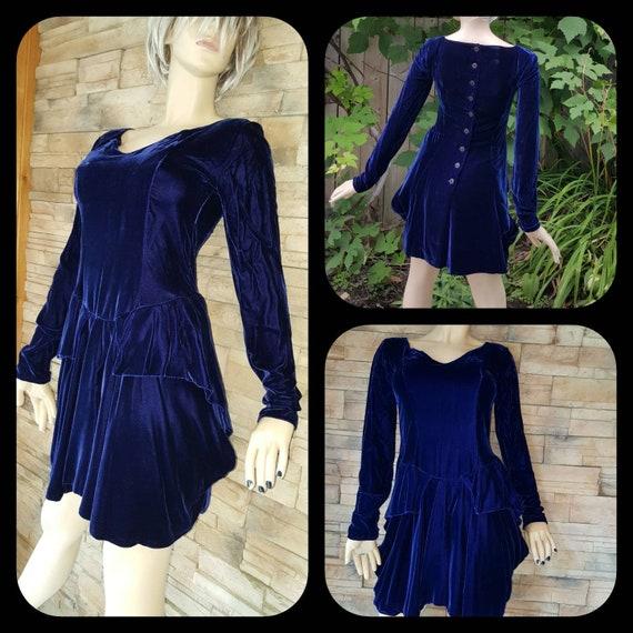 Royal blue velvet dress