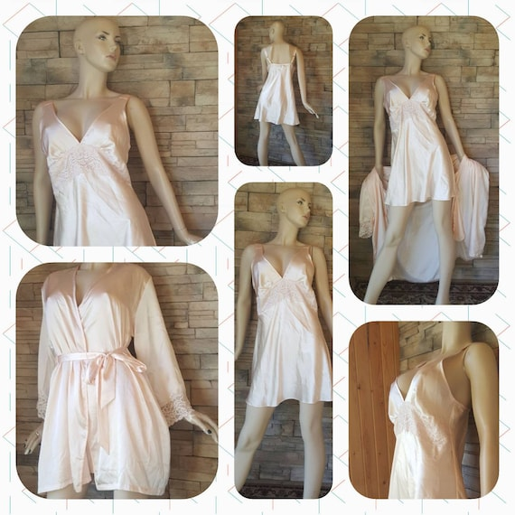 Blush-Pink Lingerie Set/Robe & Nightgown