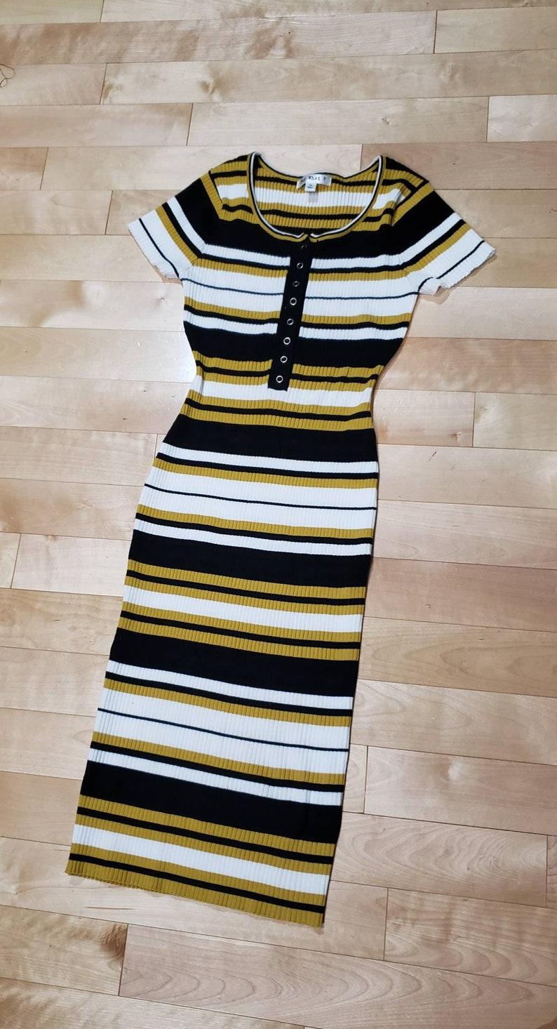 Stretchy Horizontal Striped  Knit Rayon Dress
