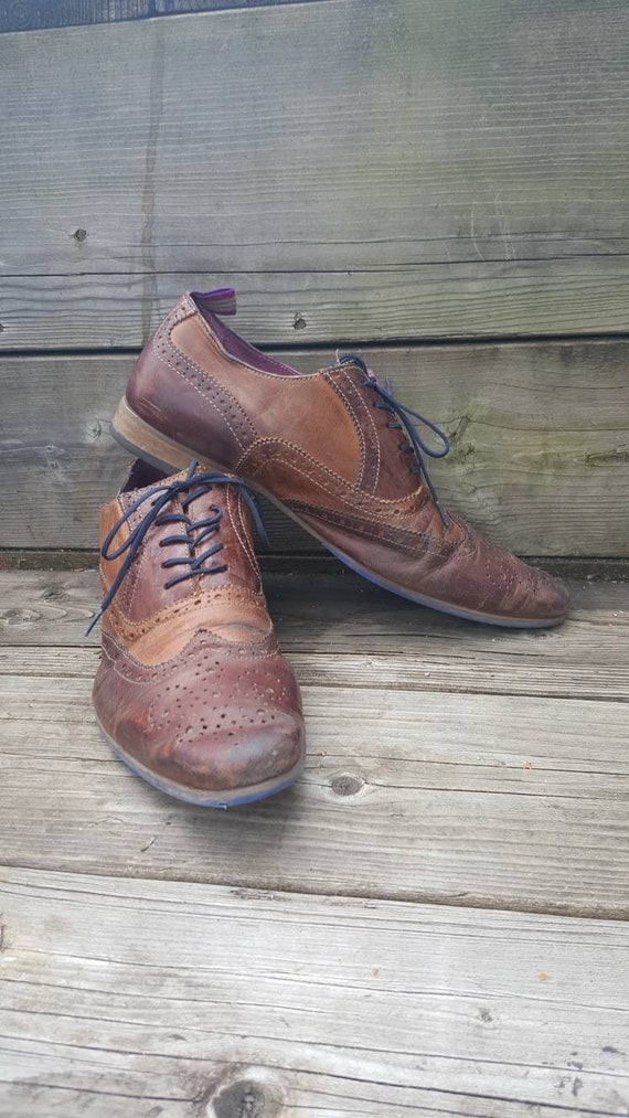 Brown leather Oxford shoes/ men size 8 /20s style/