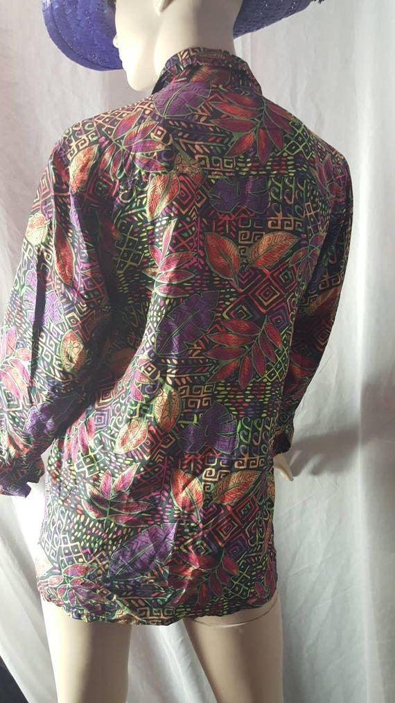 Psychedelic Silk Blouse - image 4