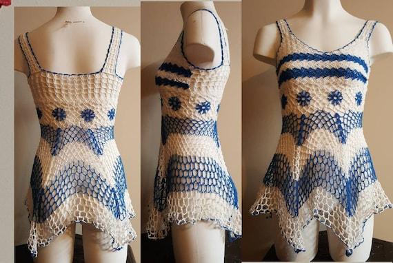 Crocheted mesh mini dress/ beach cover up