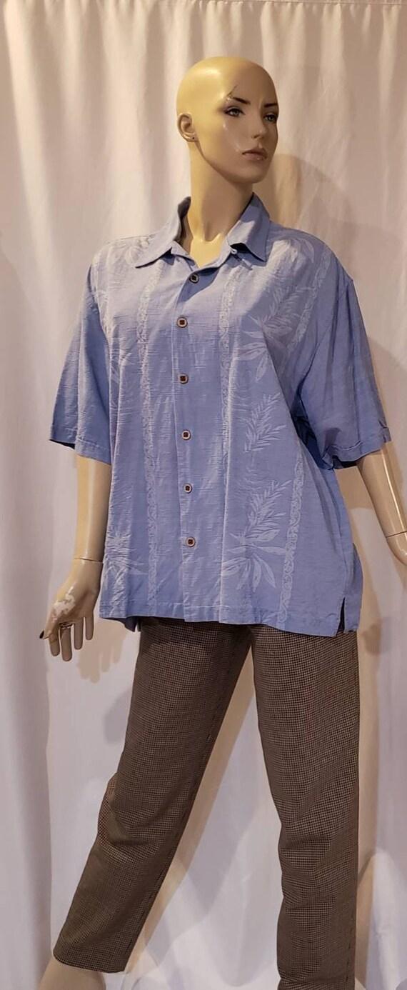 Men's blue silk retro shirt - image 8
