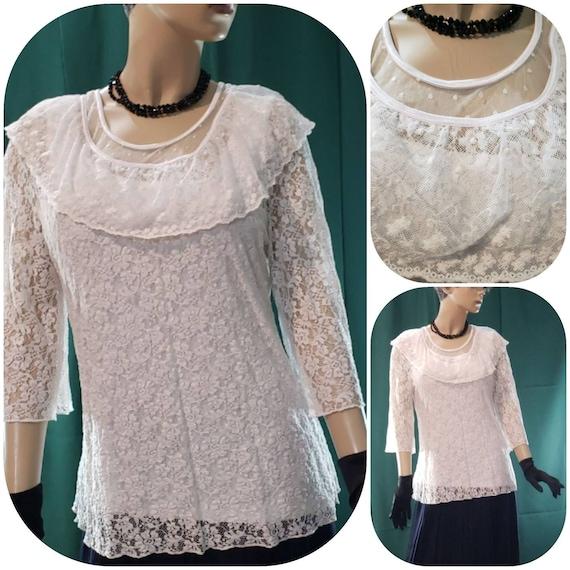 Romantic white lace blouse