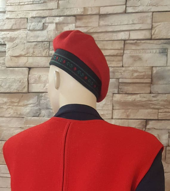 red French beret / 100% wool - image 3