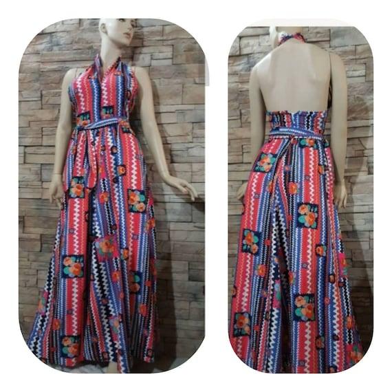 Boho Maxi Halter top dress/70s - image 1