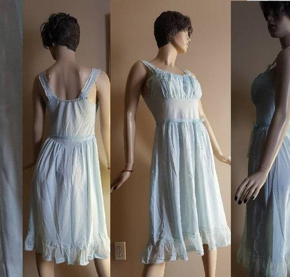 Pale Blue Nightie Negligee Dressing Gown