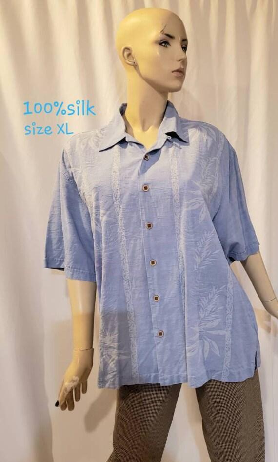 Men's blue silk retro shirt - image 3