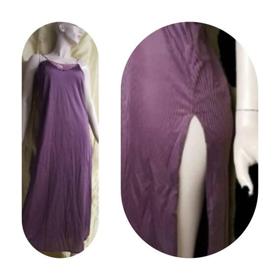 Long Purple Slip 80s Lingerie Chemise