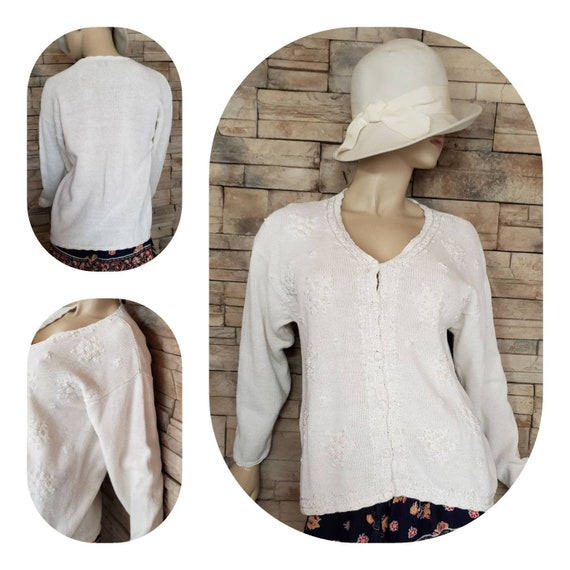 Embroidered White Cotton Cardigan Sweater