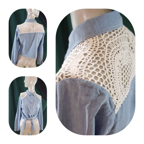 Tie front western blouse
