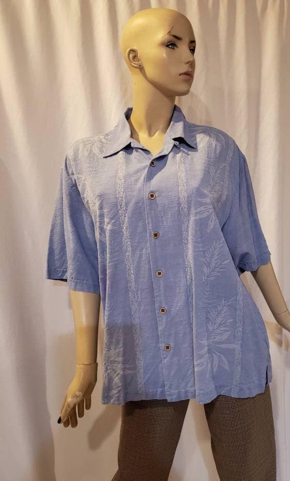 Men's blue silk retro shirt - image 9