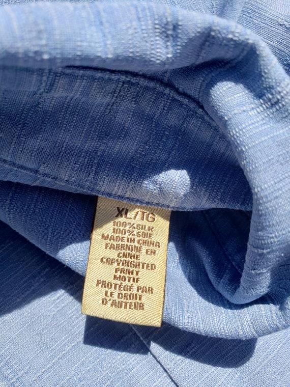 Men's blue silk retro shirt - image 7