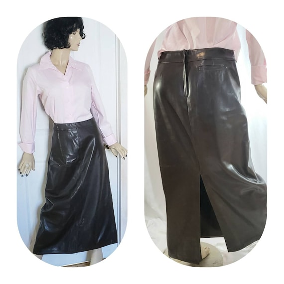 Brown Faux Leather Maxi Skirt Size 13