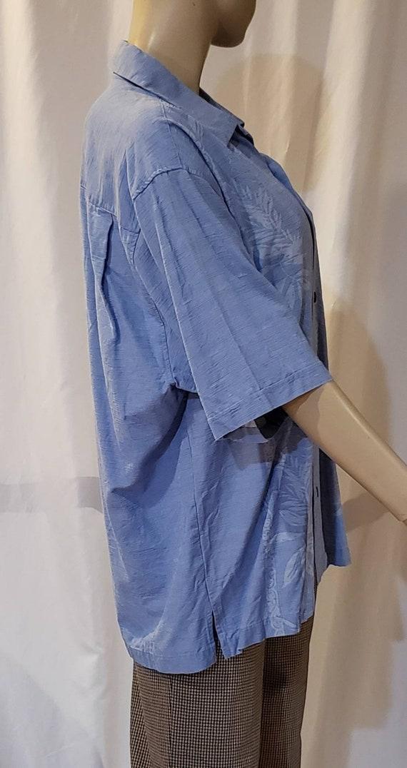 Men's blue silk retro shirt - image 2