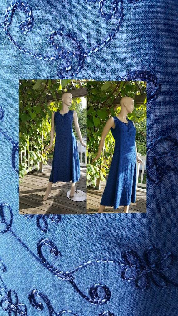 Embroidered long rayon dress