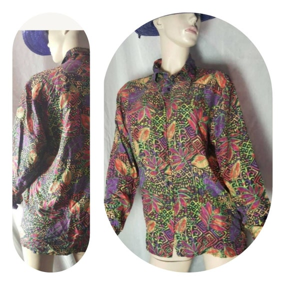 Psychedelic Silk Blouse - image 1
