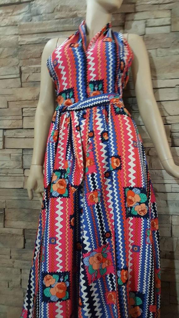 Boho Maxi Halter top dress/70s - image 5