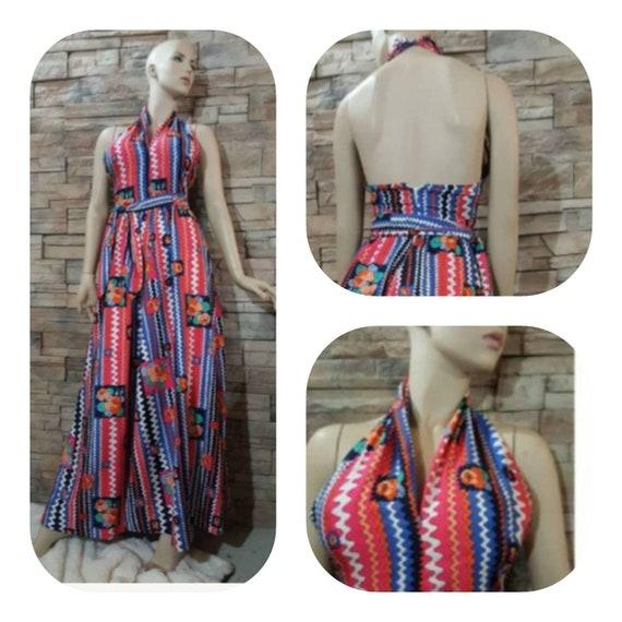 70's Maxi Halter Top Dress