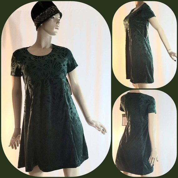 Green velvet mini vintage dress with tags