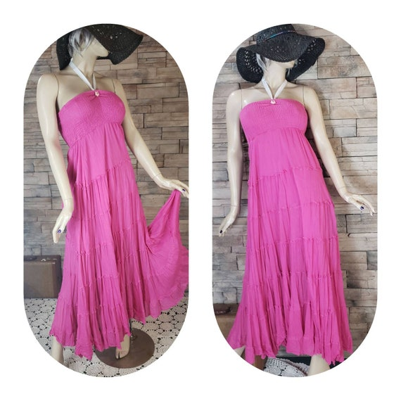 Hot pink strapless maxi dress