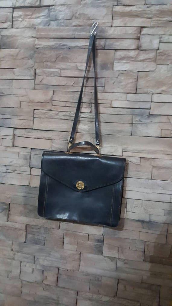 Black Leather Messenger Bag 70s Briefcase