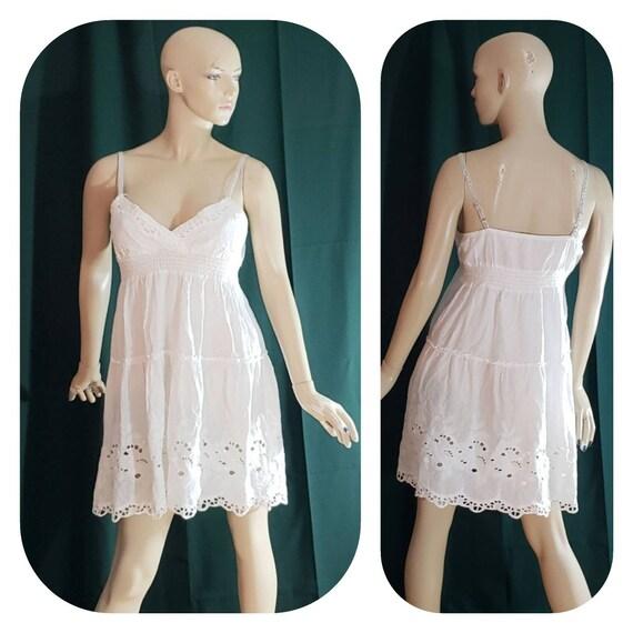 White Cotton Empire Waist Halter Eyelet Dress
