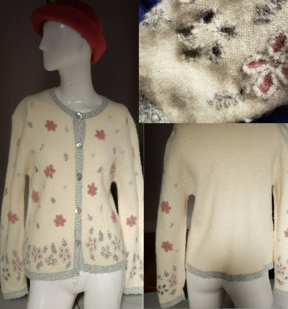 Beige Floral Cardigan Winter Jacket