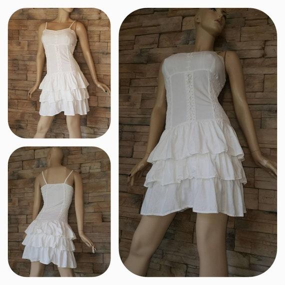 White cotton ruffle dress/