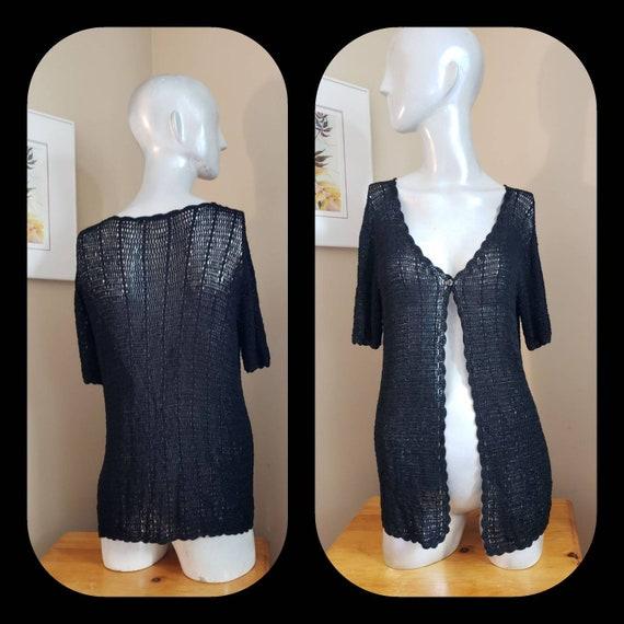 Black crochet cardigan