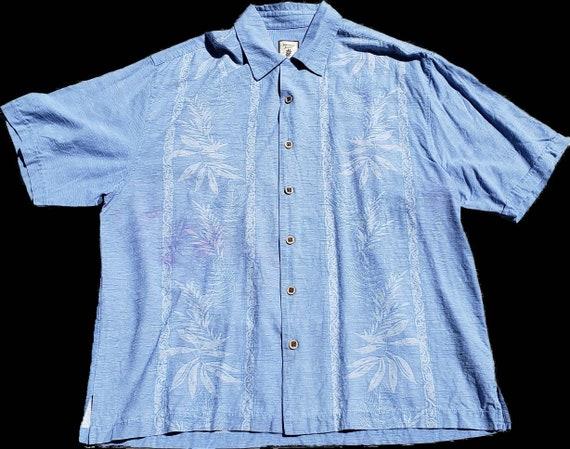 Men's blue silk retro shirt - image 5