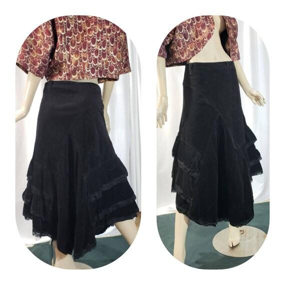 Black Corduroy Bohemian Skirt