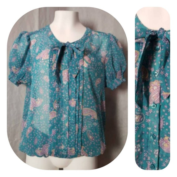 Paisley Print Turquoise Pussy  Bow Blouse
