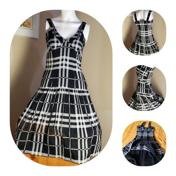 Black & White Plaid cotton Dress