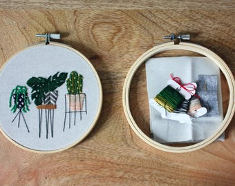DIY plant stands embroidery hoop art kit