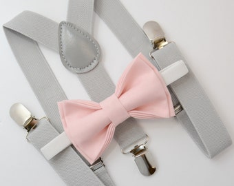 9746c86765a6 Bow Tie & Suspenders SET / Blush Pink Bow Tie / Light Gray Suspenders /  Kids Mens Baby Wedding Page Boy Set 6 months - to Adult Set