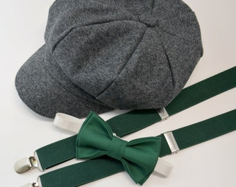 11bdf7e5d20 SET Gray Newsboy Cap Hat   Juniper Green Bow Tie   Juniper Dark Green  Suspenders   Kids Baby Page Boy Outfit Set   Newborn - 10Years sizes