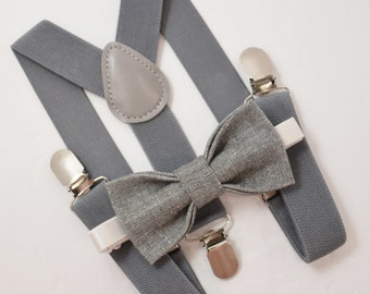 0b559962a5f6 Bow Tie & Suspenders SET / Gray LINEN Bow Tie / Medium Gray Suspenders /  Kids Mens Baby Wedding Page Boy Set from 6 months - to Adult Set