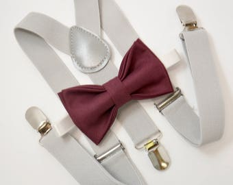 7eb50bb8a Bow Tie   Suspenders SET   Dark Burgundy Wine Red Bow Tie   Light Gray  Suspenders   Kids Mens Baby Wedding Page Boy Set 6 mo - to Adult Set